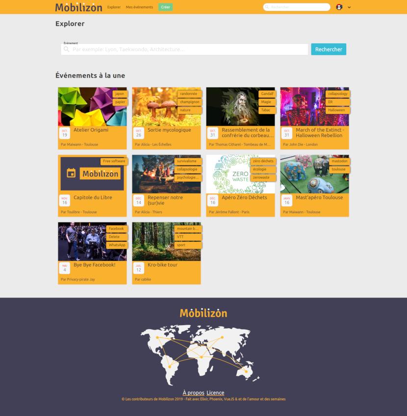 capture d'écran de la page Explorer de Mobilizon